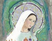 Fine Art Print of Grotto with the Blessed Mother/Catholic Icon/Original Mixed Media Painting