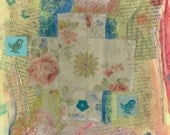 Fabric Collage of a Pastel Colored Cross/Mixed Media Cross/Christian Art