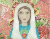 "5"" by 5"" Print of a Beeswax Icon of the Blessed Mother with Crown of Flowers"