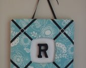 Personalized Monogram Fabric Wall Hanging- Blue Flowers and Bird