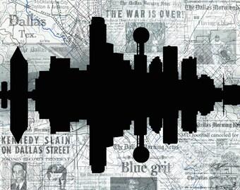"Dallas, Texas ""Silhouette"" city skyline digital 11 x 14 art print- FREE SHIPPING"