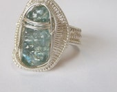 "Blue Apatite Ring--- sterling silver wire-- ""arrowhead'"