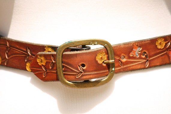 """Brown Hippie Vintage Flower Child Butterfly Etched Tooled Leather Colors Belt 32"""""""