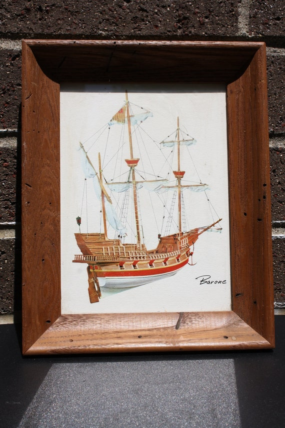 Tall Ships Ahoy Vintage Great Boats 4 Framed Wooden Pictures Wall Hanging Art by Barone