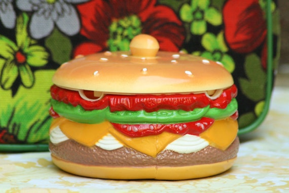 Vintage 1980s Plastic Hamburger With Everything Storage Jewelry Box Container