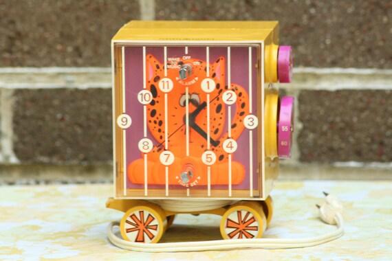 Vintage General Electric Youth Alarm Clock Neon Orange Tiger in Circus Train Cart 1960s