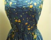Malia Blue Floral Sundress 1970s 1980s