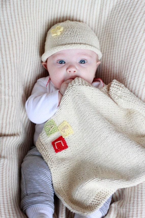 Organic Security blanket- ABC Blocks Bittie Blanket, fairtrade, USA made cotton