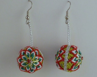 Temari Earrings - Red, White, Green, Gold and Silver