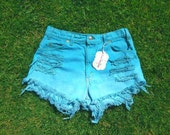 SALE teal ombre distressed high waisted shorts