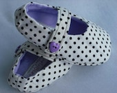Infant baby girl mary jane cotton shoes lavender polka dot 0-3 months