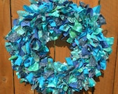 Bright Blue, Aqua and Teal Fabric Wreath