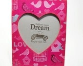Hot pink Love Birds  wood  frame free shipping USA