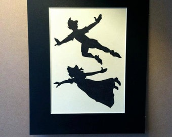 Disney Peter Pan and Wendy Flying Silhouette