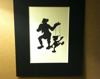 Disney Gepetto and Pinocchio Silhouette