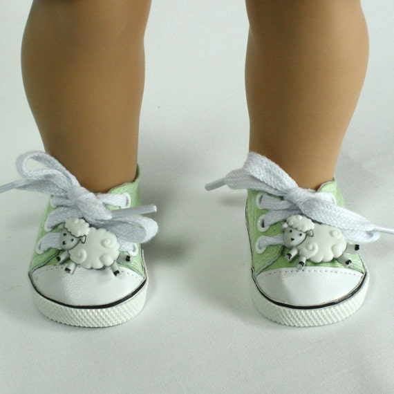 Hand Embellished Tennis Shoes fit 18 in Doll  - American Girl Doll