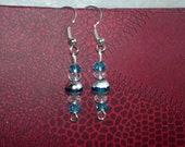 Earrings - Blue & White Crystals with Silver Bead