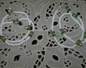 Anklets Pair - White Beads with Green Crystals & Silver Bells