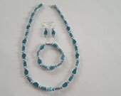 SALE Necklace Earrings Bracelet Set - Blue and Silver Beaded - Free Shipping