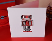 Robot greeting card - Mix-tape Mike (blank inside)