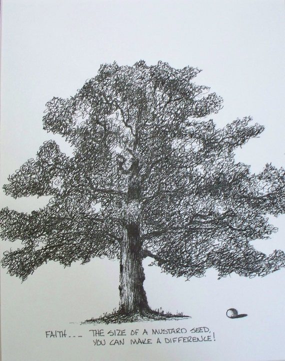 Mustard Seed Drawing Mustard Seed Tree Print From