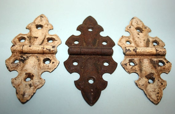 Trio of vintage butterfly-style cabinet/cupboard door hinges