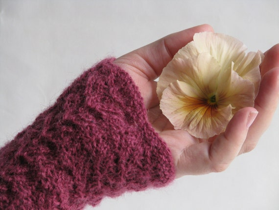 RESERVED LISTING Gloves Fingerless Knitted in Pink Alpaca with Victorian Lace Pattern Great Stocking Stuffer