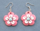 Pink Dangle Earrings Polymer Clay Unique handmade - Fimo - OOAK