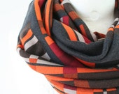 Unisex infinity scarf in geometric print in brown orange gray and burgundy, loop circular eternity scarf, chunky winter scarf
