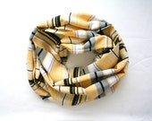 SALE 25% Stripy summer circular scarf in white yellow gray and black viscose - loop scarf tube circular