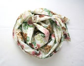 Boho floral scarf in white pink mint green and brown