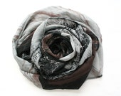 Black chiffon scarf with gray and brown abstract print - only one piece