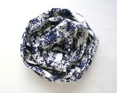 Vintage floral scarf in blue and white, long satin scarf with flower print, elegant Hollywood style scarf