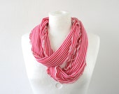 Skinny stripy infinity scarf in nautical red and white - long loop scarf tube circular - textile necklace