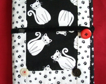 Journal or notebook with hand quilted cover and bookmark