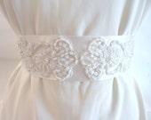 Ivory Lace Bridal Sash, Ivory Bridal Belt, Bridesmaid