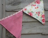 Girls Bunting,Cottage Chic, Room/Nursery Decor,House Decor,Banner, flowery design,Fabric flags