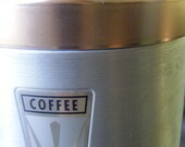 Vintage Aluminum Coffee Can Storage Canister with Copper Lid and Plastic Handle c.1950s