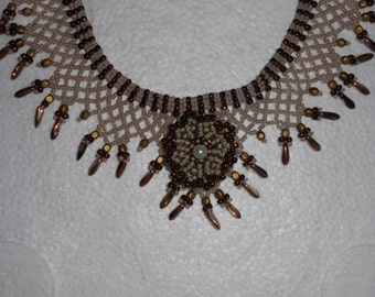 Victorian Romantic  Russian Lace Collar With Pearl