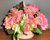 Flower girl basket, table arrangement - Pink Roses
