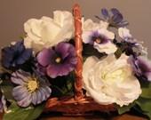 Flower girl basket, table arrangement - Purple, white and blue