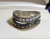 Vintage Jewelry Ring Sterling Silver Opal Marchsite (Pyrite) Signed Marked