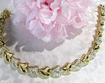 Gold Washed Sterling Silver Heart style Bracelet 7 1/2 Vintage Jewelry