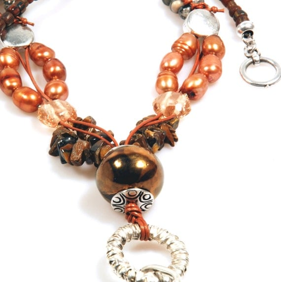 Long necklace brown, ceramic bead, tiger eye and pearls, big necklace wooden ring, woman gift, gypsy bohemian jewelry SALE from eur 44,95