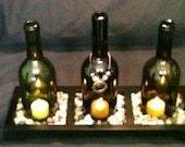 Repurposed Wine Bottles Tea Light Set