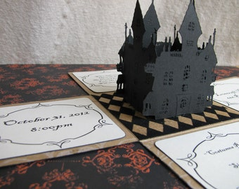 Unique 3-D Haunted Mansion Halloween Invitations