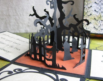 Unique 3-D Creepy Cemetery Halloween Invitations