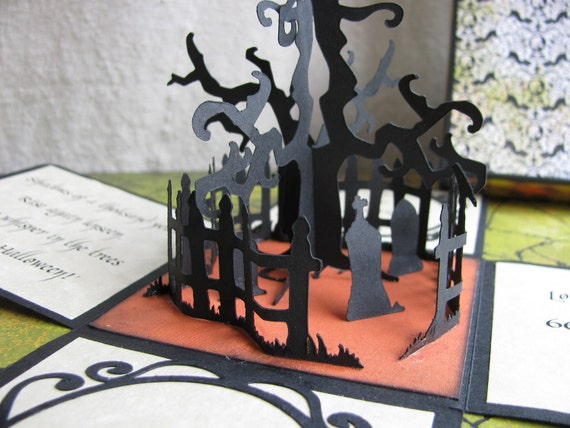 Custom Order for Elizabeth - 4 Unique 3-D Creepy Cemetery Halloween Invitations and 4 5x5 Shipping Boxes with Moss