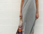 100% thick cotton plain sleeveless maxi dress, tank dress, minimal dress, jersey dress, sun dress, spring-summer dress, - plain