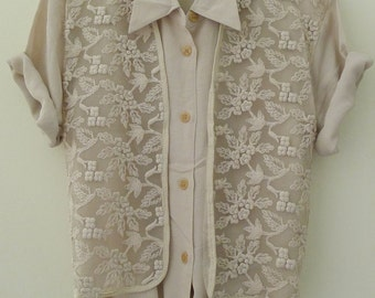 1980's vintage oversize double layers as a waistcoat ivory blouse, 2 pieces shirt, embroidery, lace trim - ivory